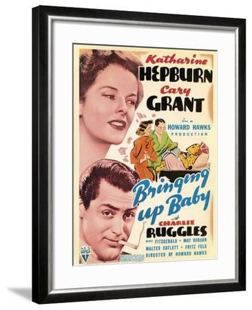 Bringing Up Baby, Katharine Hepburn, Cary Grant on window card, 1938--Framed Art Print