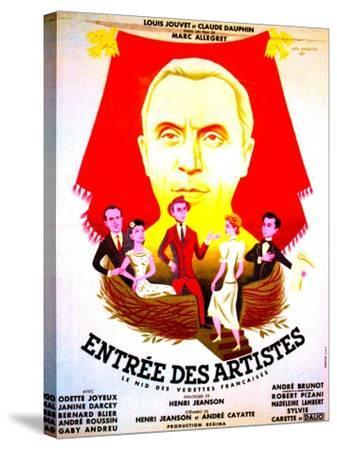 ENTREE DES ARTISTES, (aka THE CURTAIN RISES), French poster art, top: Louis Jouvet, 1938--Stretched Canvas Print