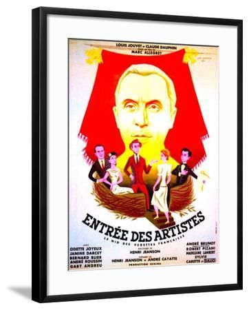 ENTREE DES ARTISTES, (aka THE CURTAIN RISES), French poster art, top: Louis Jouvet, 1938--Framed Art Print