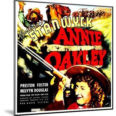 ANNIE OAKLEY, top: Moroni Olsen, bottom: Barbara Stanwyck on jumbo window card, 1935--Mounted Art Print