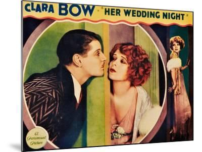 HER WEDDING NIGHT, l-r: Ralph Forbes, Clara Bow on lobbycard, 1930--Mounted Art Print