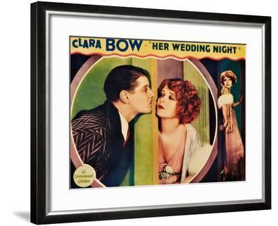 HER WEDDING NIGHT, l-r: Ralph Forbes, Clara Bow on lobbycard, 1930--Framed Art Print
