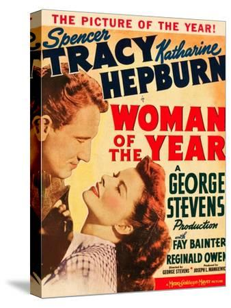 Woman of the Year, Spencer Tracy, Katharine Hepburn on window card, 1942--Stretched Canvas Print
