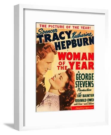 Woman of the Year, Spencer Tracy, Katharine Hepburn on window card, 1942--Framed Art Print