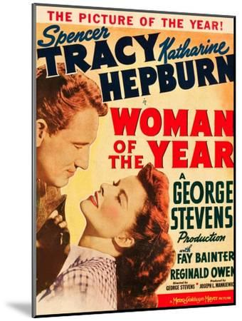 Woman of the Year, Spencer Tracy, Katharine Hepburn on window card, 1942--Mounted Art Print