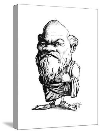 Socrates, Caricature-Gary Gastrolab-Stretched Canvas Print