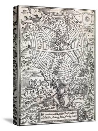 Atlas Cosmology, 16th Century Artwork-Middle Temple Library-Stretched Canvas Print