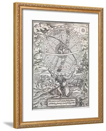 Atlas Cosmology, 16th Century Artwork-Middle Temple Library-Framed Giclee Print