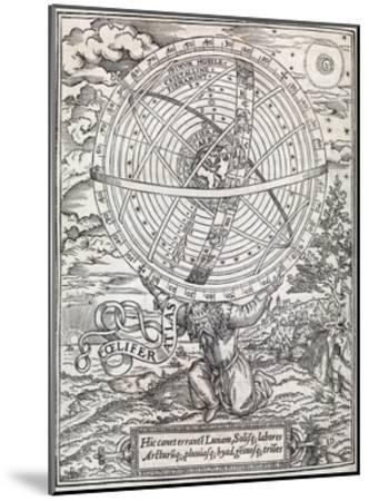 Atlas Cosmology, 16th Century Artwork-Middle Temple Library-Mounted Giclee Print