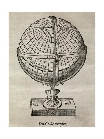 Earth Globe, 16th Century Artwork-Middle Temple Library-Framed Giclee Print