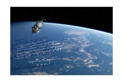 Vostok 1 Spacecraft In Orbit, Artwork-Detlev Van Ravenswaay-Framed Giclee Print
