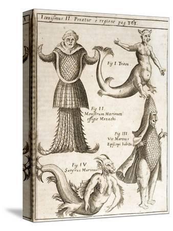 1662 Schott Sea Monsters And Mermaids-Stewart Stewart-Stretched Canvas Print