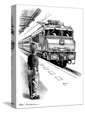 Child Train Safety, Artwork-Bill Sanderson-Stretched Canvas Print