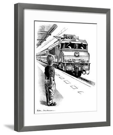 Child Train Safety, Artwork-Bill Sanderson-Framed Giclee Print