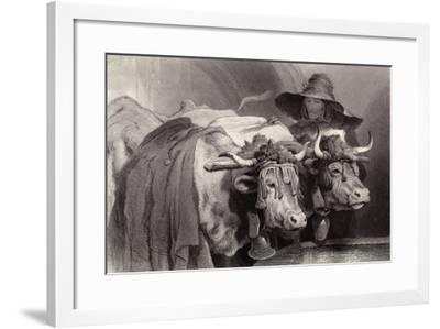 Oxen at the Tank, Geneva, Switzerland-Edwin Henry Landseer-Framed Giclee Print