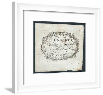G Carkett, Mercer and Draper, Trade Card--Framed Giclee Print