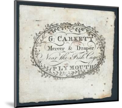 G Carkett, Mercer and Draper, Trade Card--Mounted Giclee Print
