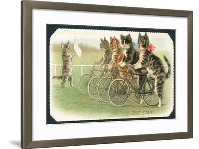 The Start, Cat Cycle Race, Christmas Card-English School-Framed Giclee Print