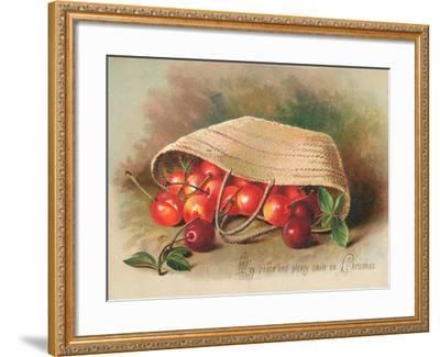 Basket of Cherries, Christmas Card--Framed Giclee Print