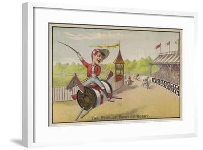Horse Racing on Cotton Reels--Framed Giclee Print
