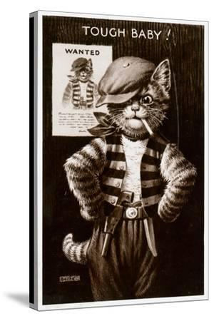 An Anthropomorphic Cat Smoking a Cigarette--Stretched Canvas Print