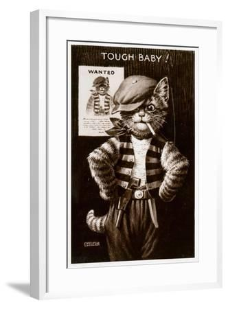 An Anthropomorphic Cat Smoking a Cigarette--Framed Giclee Print