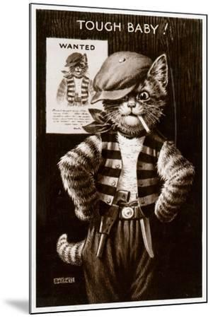 An Anthropomorphic Cat Smoking a Cigarette--Mounted Giclee Print