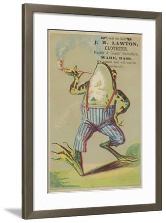 Dancing Frog with Pipe--Framed Giclee Print
