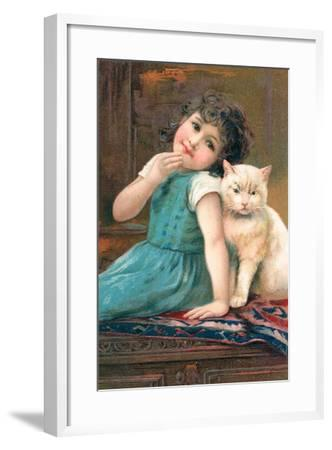 A Young Girl Posing with a Cat--Framed Giclee Print