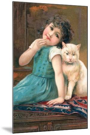 A Young Girl Posing with a Cat--Mounted Giclee Print