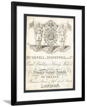 Bushnell, Honeywell and Co, Coach Builders and Harness Makers, Trade Card--Framed Giclee Print