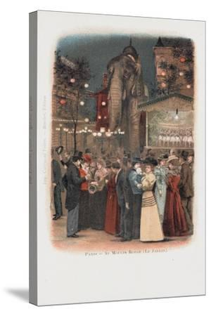 Crowds in the Garden at the Moulin Rouge in Paris--Stretched Canvas Print