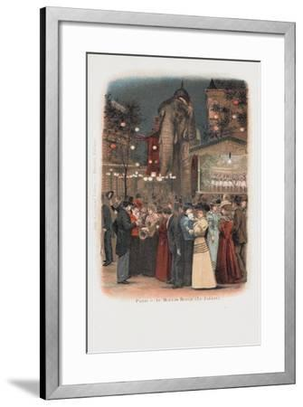 Crowds in the Garden at the Moulin Rouge in Paris--Framed Giclee Print