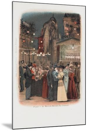 Crowds in the Garden at the Moulin Rouge in Paris--Mounted Giclee Print