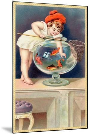 A Young Child with a Fishing Net Reaches into a Goldfish Bowl--Mounted Giclee Print