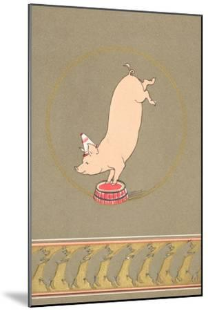 An Anthropomorphic Pig Performing in a Circus--Mounted Giclee Print