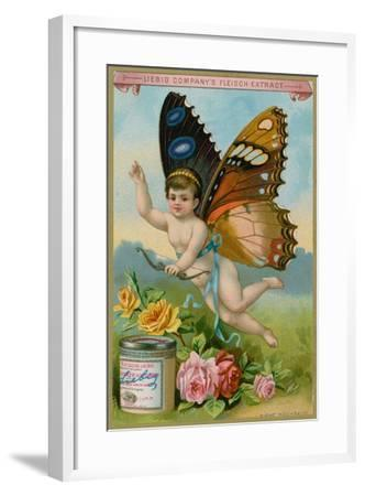 Butterfly Cherub with Roses--Framed Giclee Print