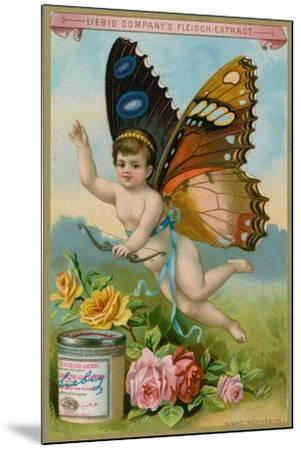 Butterfly Cherub with Roses--Mounted Giclee Print
