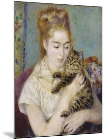 Woman with a Cat, C.1875-Pierre-Auguste Renoir-Mounted Giclee Print