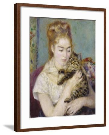Woman with a Cat, C.1875-Pierre-Auguste Renoir-Framed Giclee Print