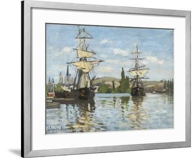 Ships Riding on the Seine at Rouen, 1872- 73-Claude Monet-Framed Giclee Print