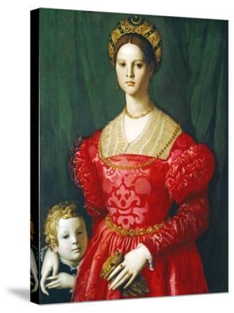 A Young Woman and Her Little Boy, C.1540-Agnolo Bronzino-Stretched Canvas Print