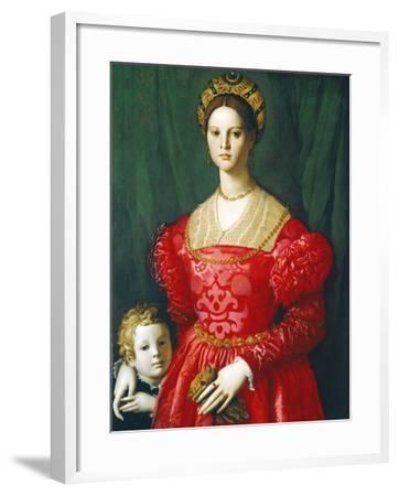 A Young Woman and Her Little Boy, C.1540-Agnolo Bronzino-Framed Giclee Print