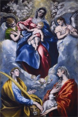 Madonna and Child with Saint Martina and Saint Agnes, 1597-1599-El Greco-Framed Giclee Print