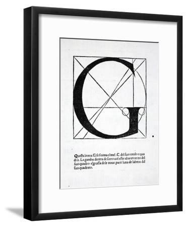 G, Illustration from 'Divina Proportione' by Luca Pacioli (C.1445-1517), Originally Pub. Venice,…-Leonardo da Vinci-Framed Premium Giclee Print