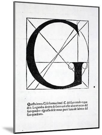 G, Illustration from 'Divina Proportione' by Luca Pacioli (C.1445-1517), Originally Pub. Venice,…-Leonardo da Vinci-Mounted Premium Giclee Print