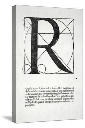 R, Illustration from 'Divina Proportione' by Luca Pacioli (C.1445-1517), Originally Pub. Venice,…-Leonardo da Vinci-Stretched Canvas Print