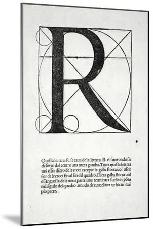 R, Illustration from 'Divina Proportione' by Luca Pacioli (C.1445-1517), Originally Pub. Venice,…-Leonardo da Vinci-Mounted Giclee Print