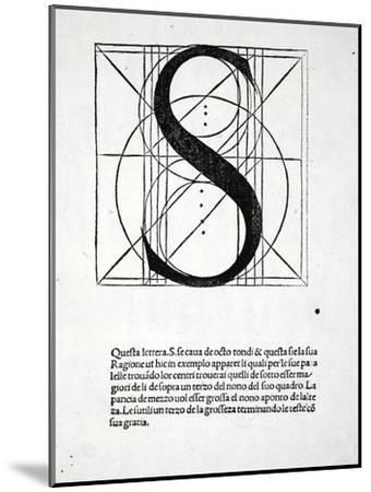 S, Illustration from 'Divina Proportione' by Luca Pacioli (C.1445-1517), Originally Pub. Venice,…-Leonardo da Vinci-Mounted Giclee Print