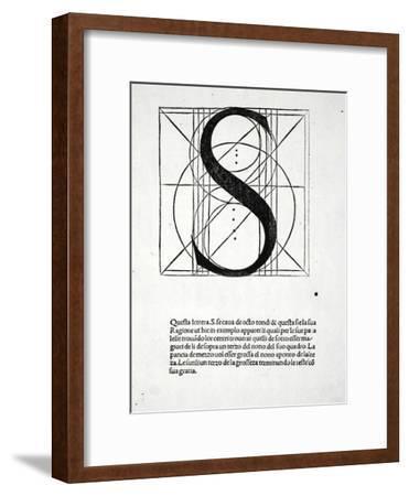 S, Illustration from 'Divina Proportione' by Luca Pacioli (C.1445-1517), Originally Pub. Venice,…-Leonardo da Vinci-Framed Giclee Print